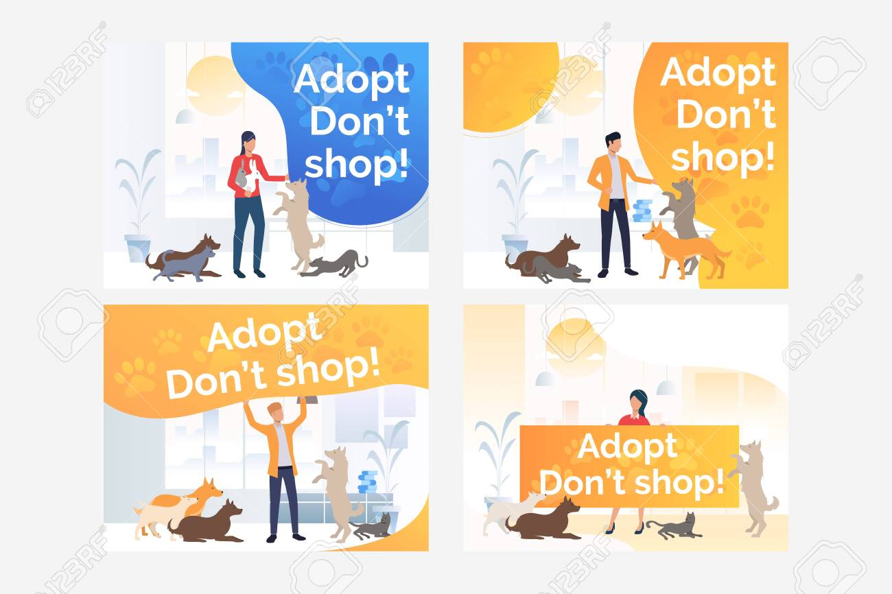 Pet Adoption Set Volunteer Holding Placard Advertising Cats Royalty Free Cliparts Vectors And Stock Illustration Image 134042587