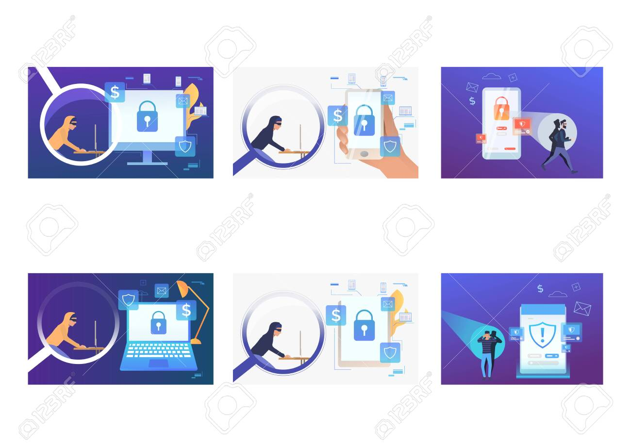 Set of cyber burglars hacking into devices. Flat vector illustrations of hackers breaking private info. Hacker attack concept for banner, website design or landing web page - 136240527