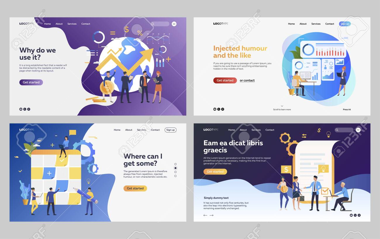 Set of managers analyzing financial strategy. Flat vector illustrations of business people drawing up report. Development, analytics concept for banner, website design or landing web page - 139310145