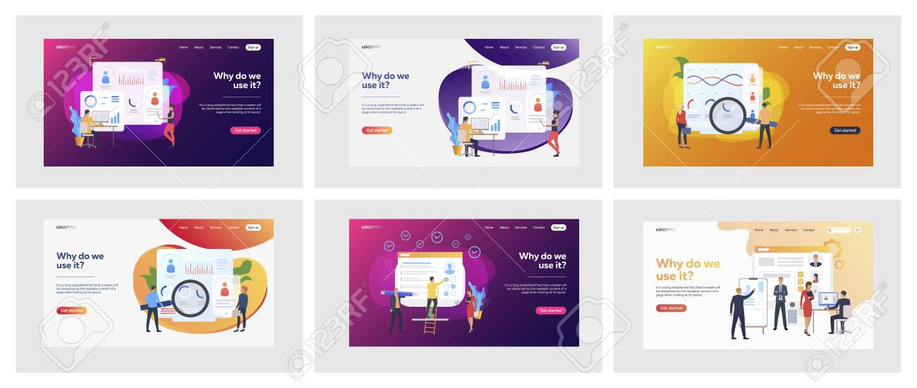 Set of business people analyzing curriculum vitae. Flat vector illustrations of men and women making statistics. Recruitment and analysis concept for banner, website design or landing web page - 139310827