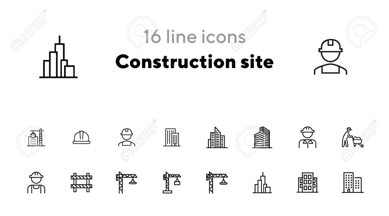 Construction site line icon set. Building, worker in helmet, crane. Construction concept. Can be used for topics like real estate development, work, housebuilding, property - 140616902