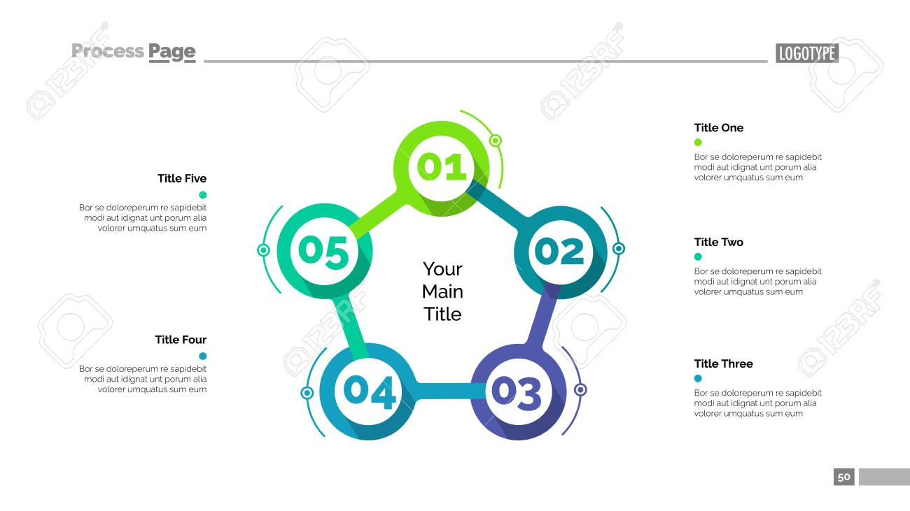 Cycle flowchart with five elements. Step diagram, option chart, layout. Creative concept for infographics, presentation, project, report. Can be used for topics like management, workflow, marketing. - 148326080