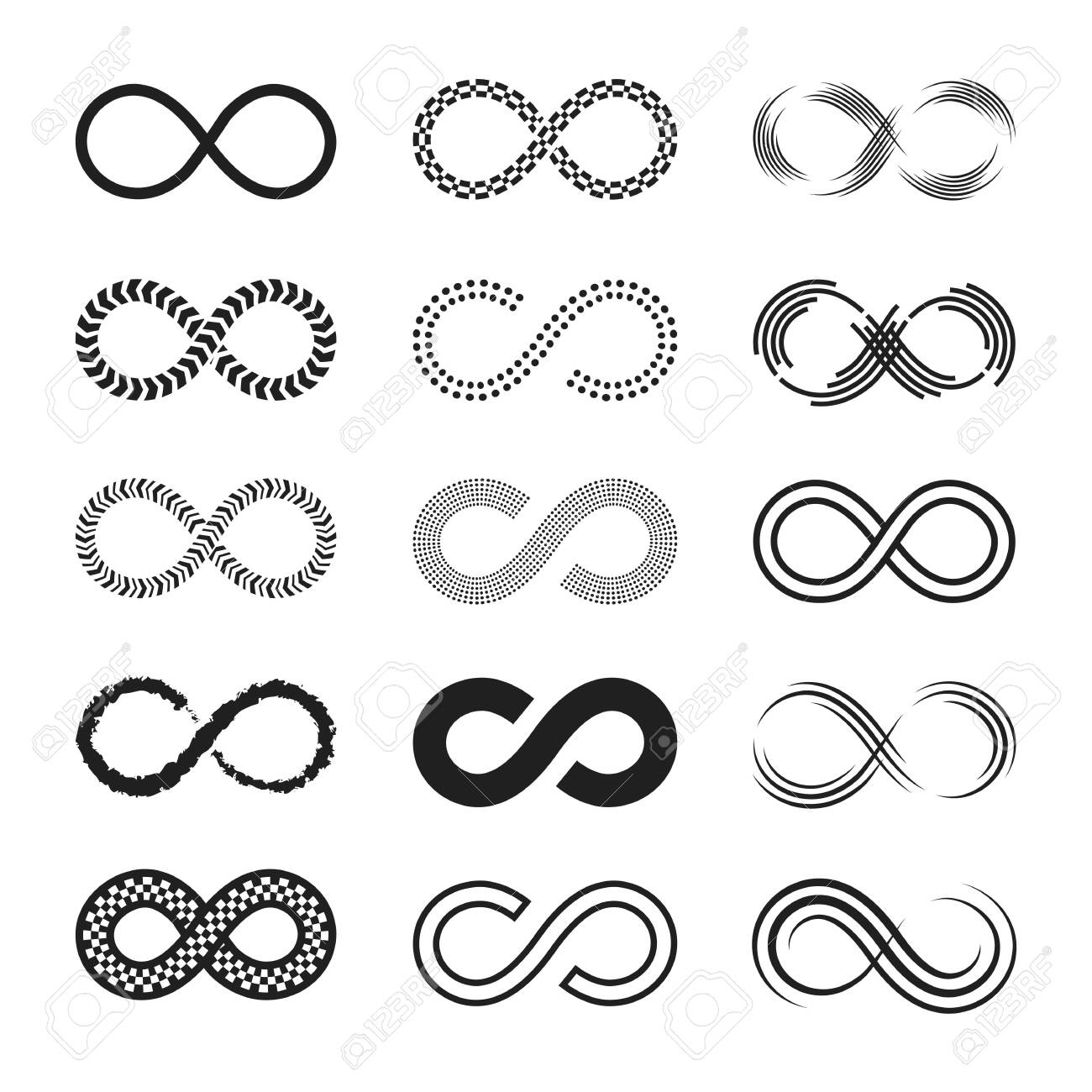 Infinity signs set. Endless eternity symbols, black eight geometric shapes isolated on white background. Can be used for logo or emblem design, Moebius loop concept - 149924259