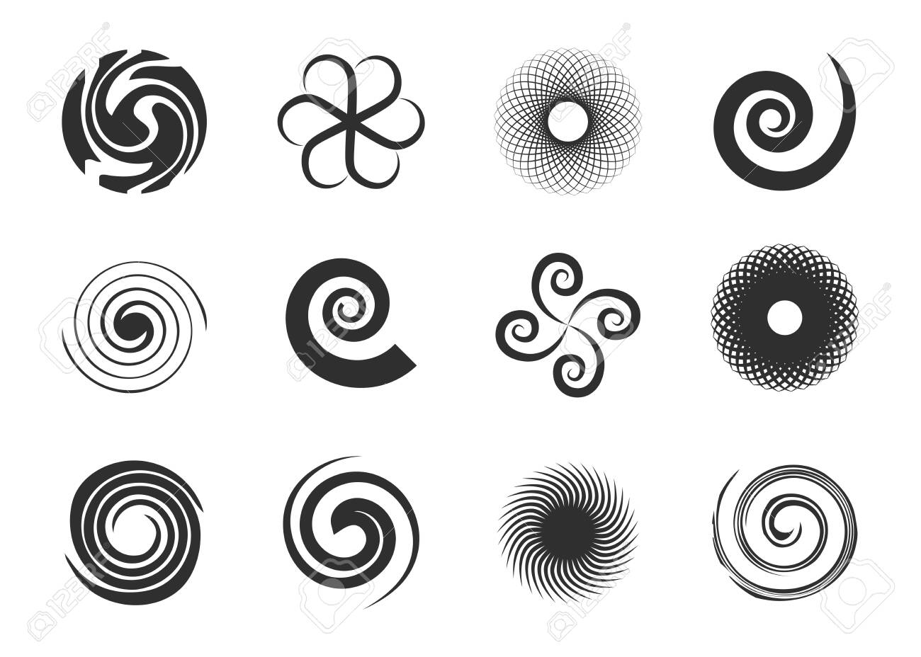 Circular swirls set. Twisted spiral circles, black various whirlpool, speed twirls, abstract graphic round shapes with motion effects. Can be used for psychedelic effect, circular movement topics - 151059115