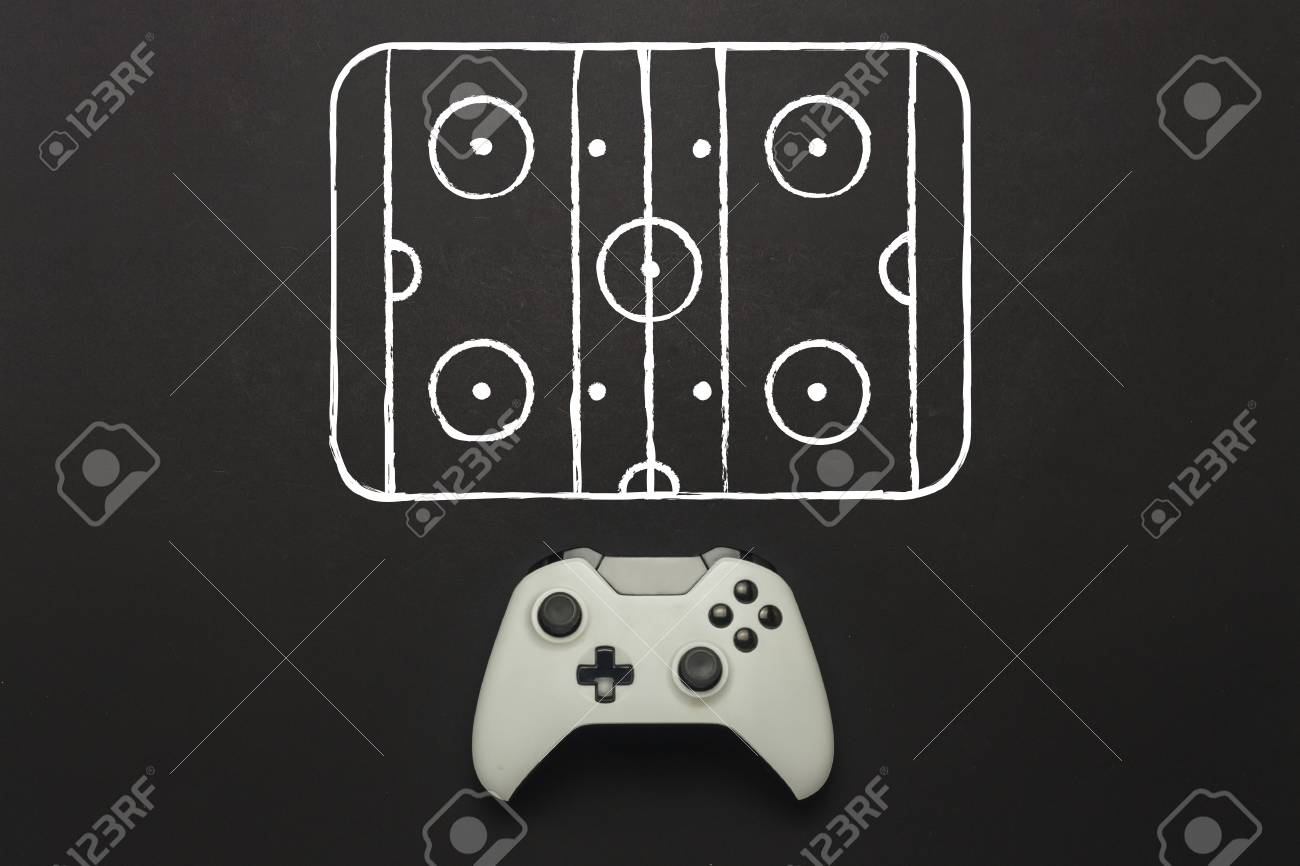 White Gamepad On A Black Background Added Hockey Court Scheme