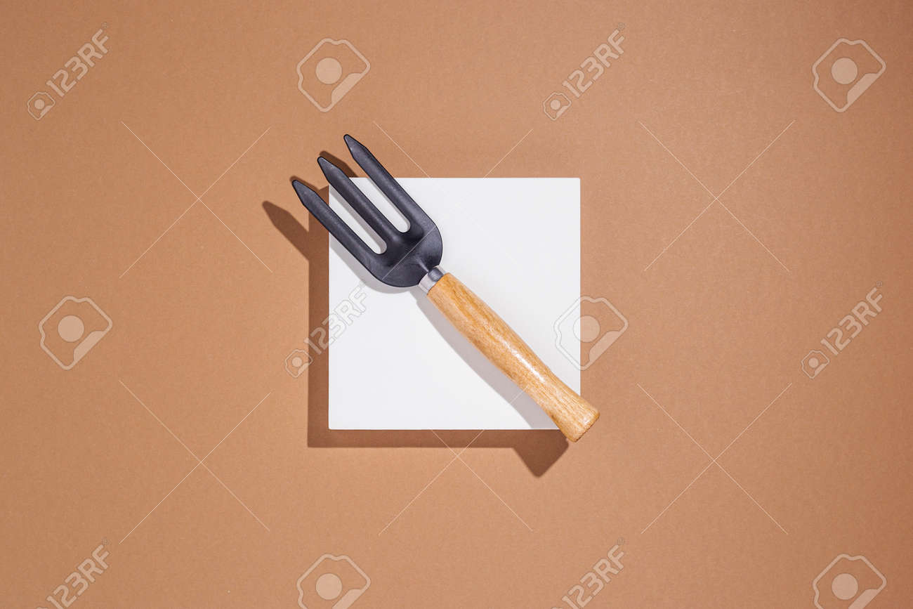 Garden tools lying on a white square podium on a brown background. Top view, flat lay. - 171847670