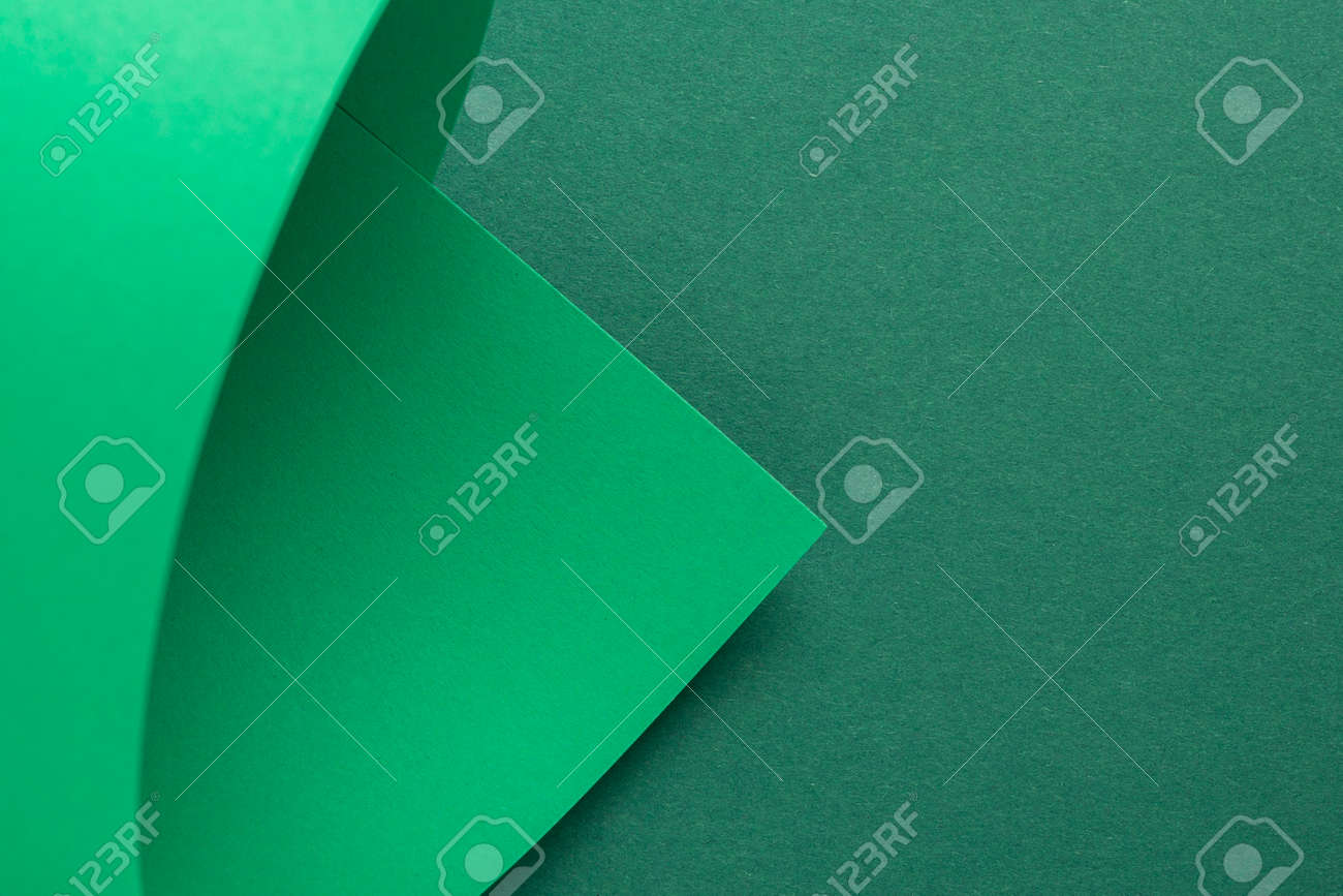 Design background curved background from green cardboard. Top view, flat lay. - 171847685