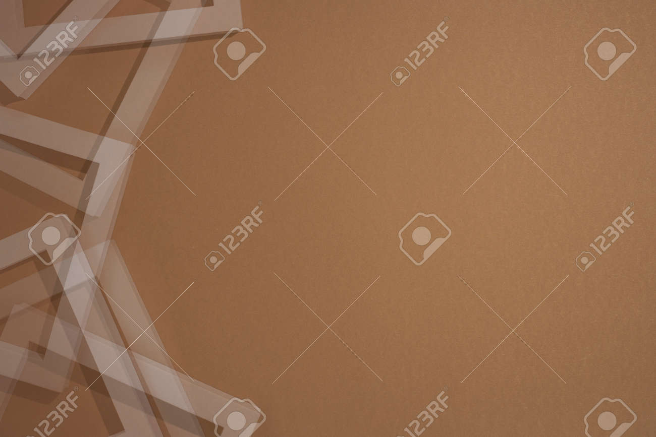 Podium for presentation square white frames on brown background. Top view, flat lay. - 171847687