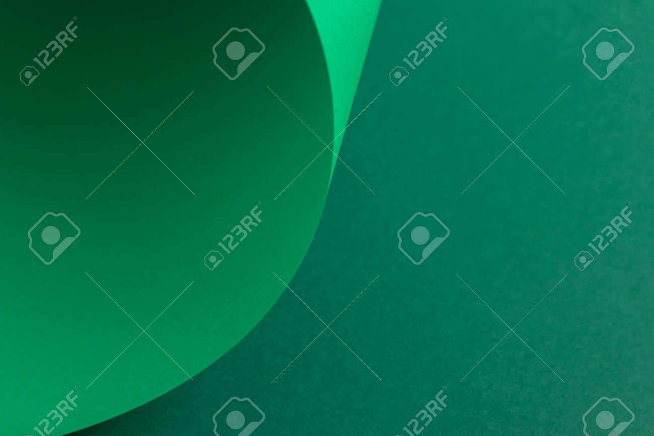 Design background curved background from green cardboard. Top view, flat lay. - 171847728