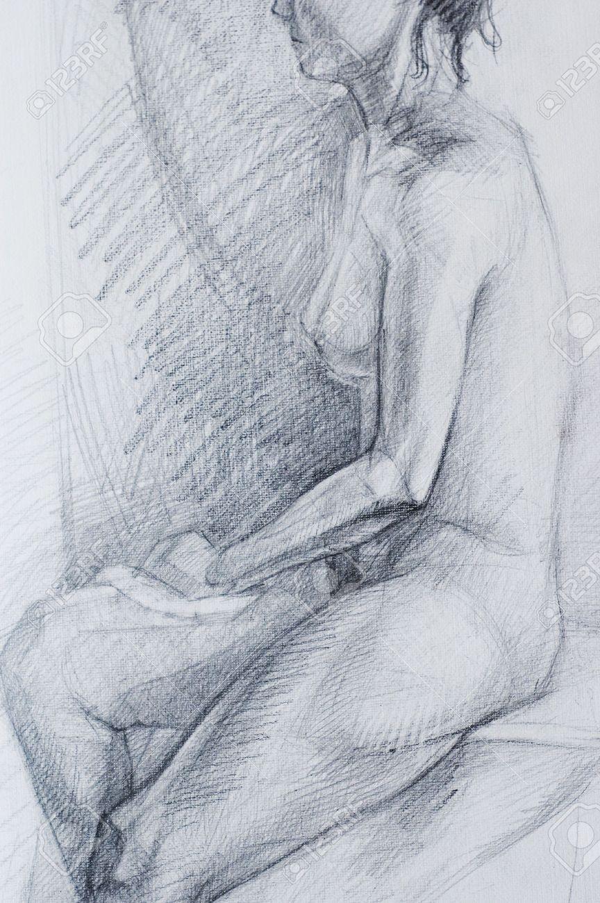 Dibujos A Lápiz De Mujer Desnuda