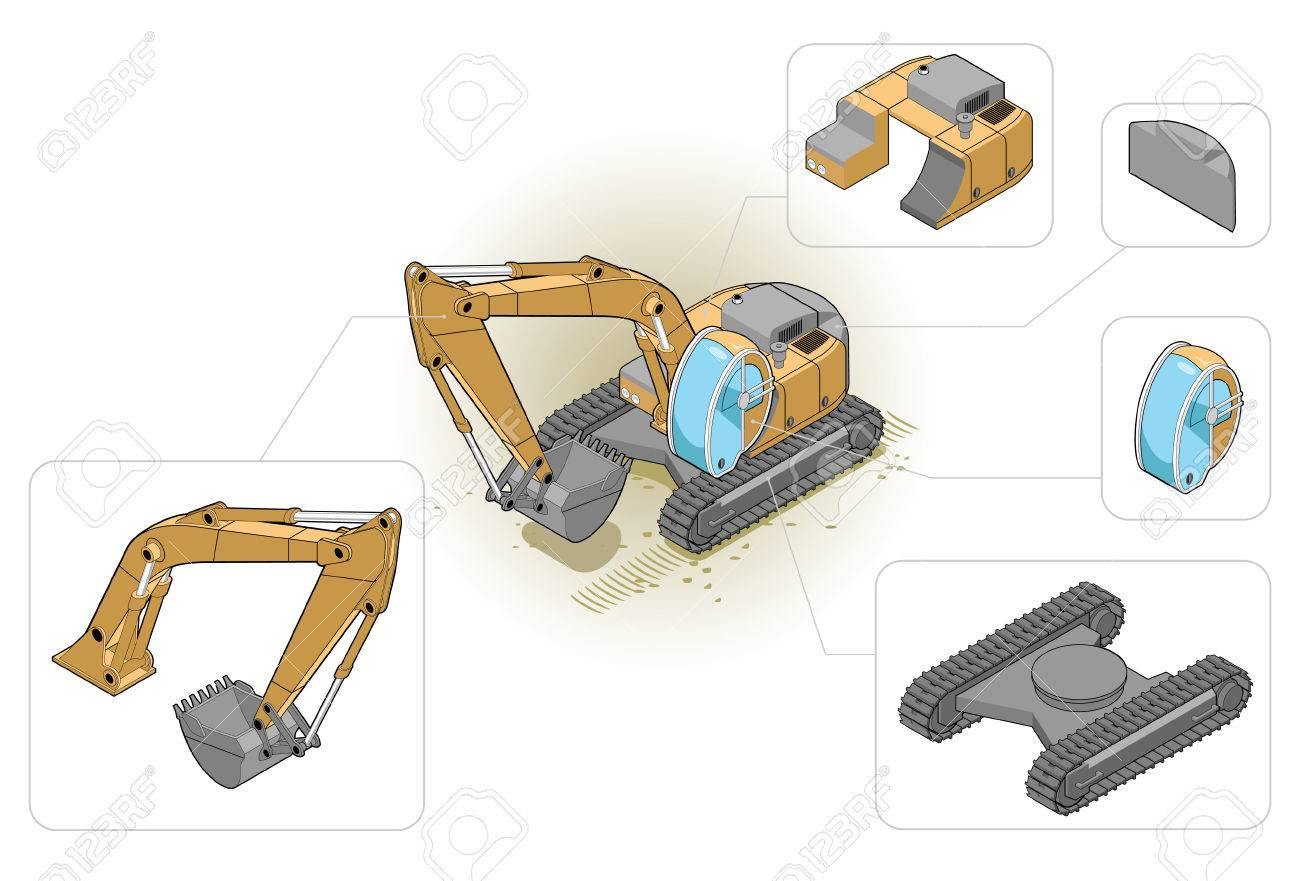 isometric illustration of an excavator and his components Stock Vector - 5132563