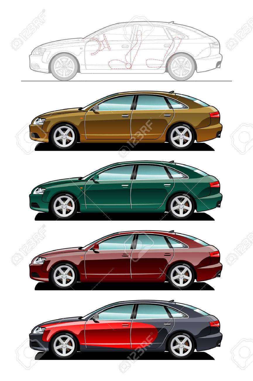 Liftback. part of my collections  of Car body style. Simple gradients only - no gradient mesh Stock Vector - 6141678