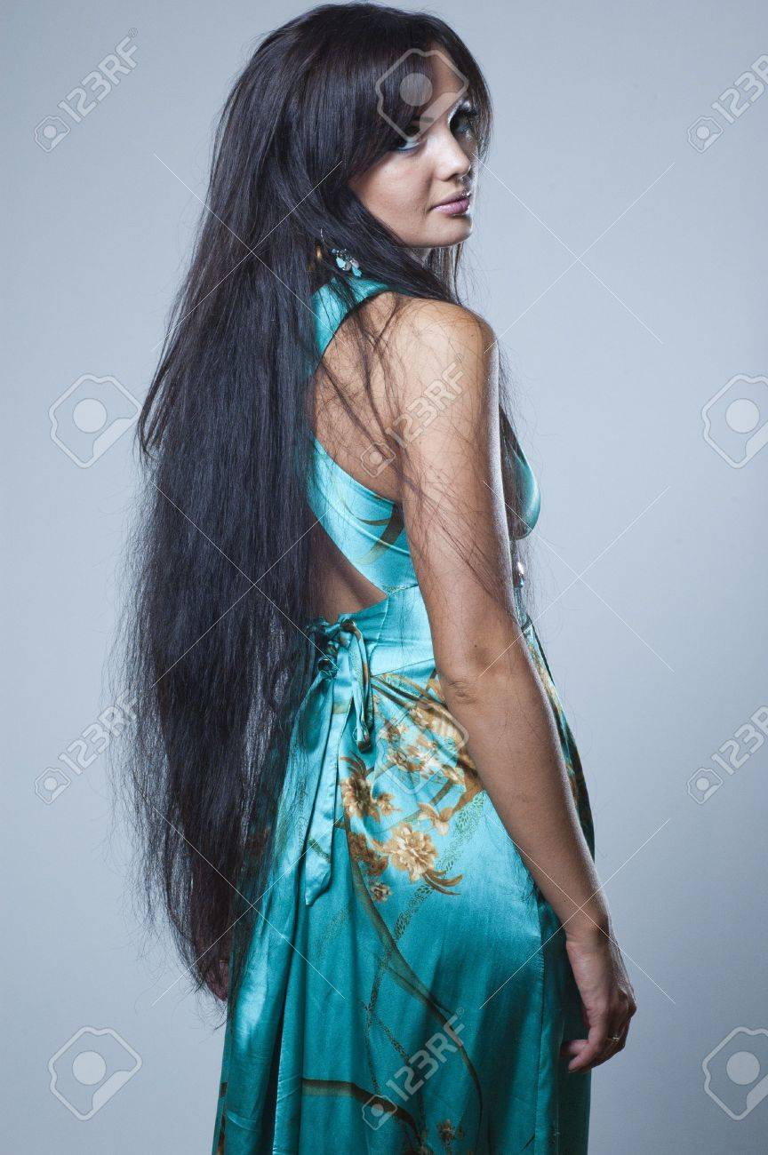 studio photos of a girl with long dark hair Stock Photo - 7609406