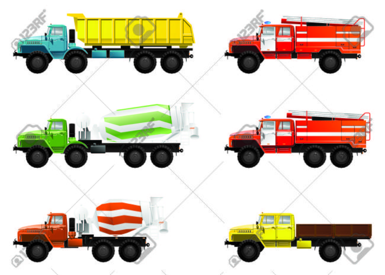 color illustration of  trucks. (mixing truck, dump-truck  and  fire engine) Stock Vector - 8316260