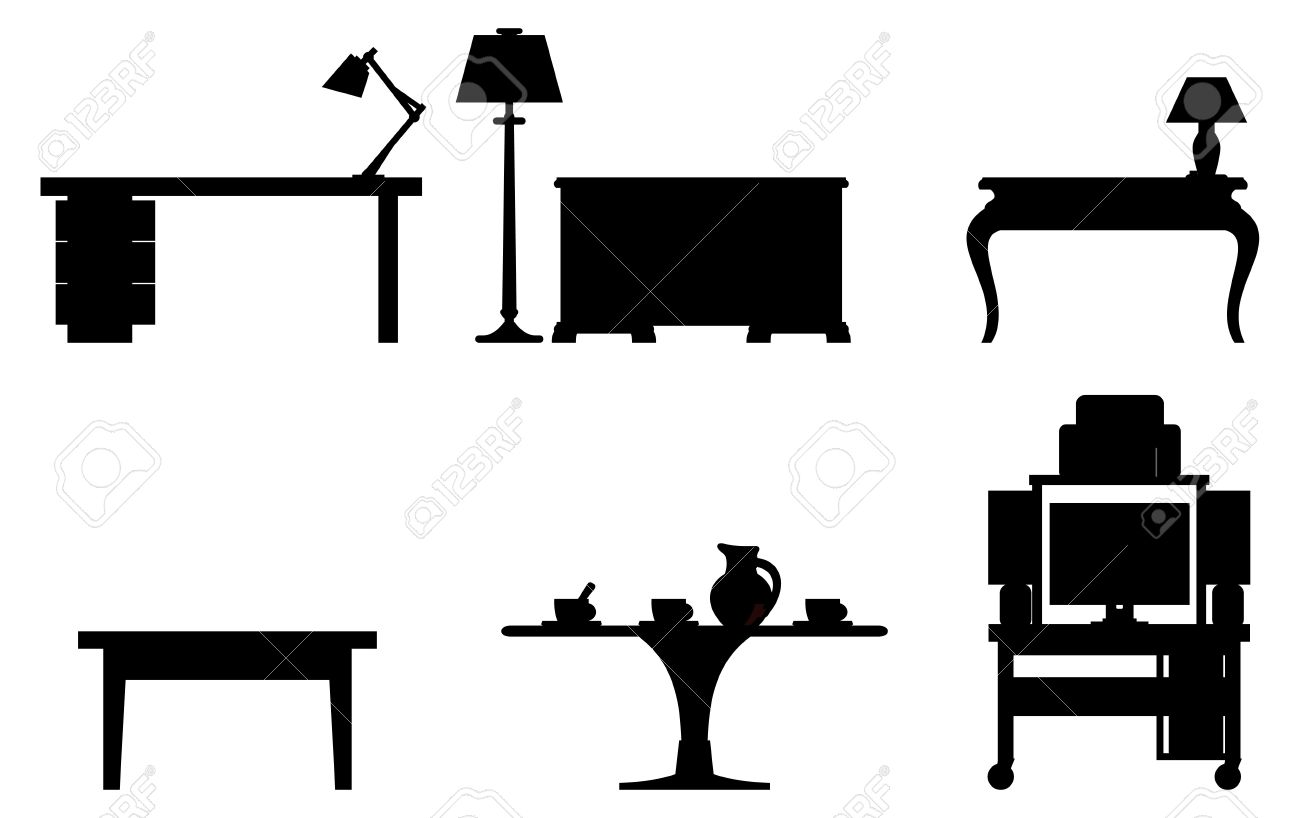 Vector black and white illustration of six tables - 14396242