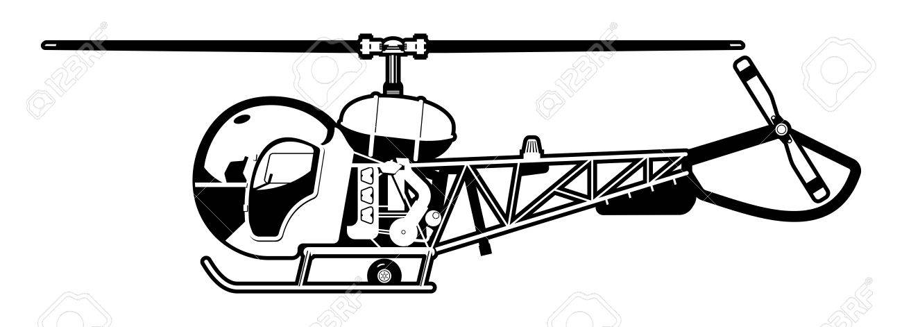 black and white illustration of the small helicopter. Stock Vector - 16298332