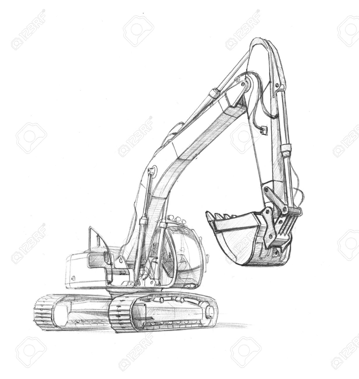 drawing excavator - 17587496