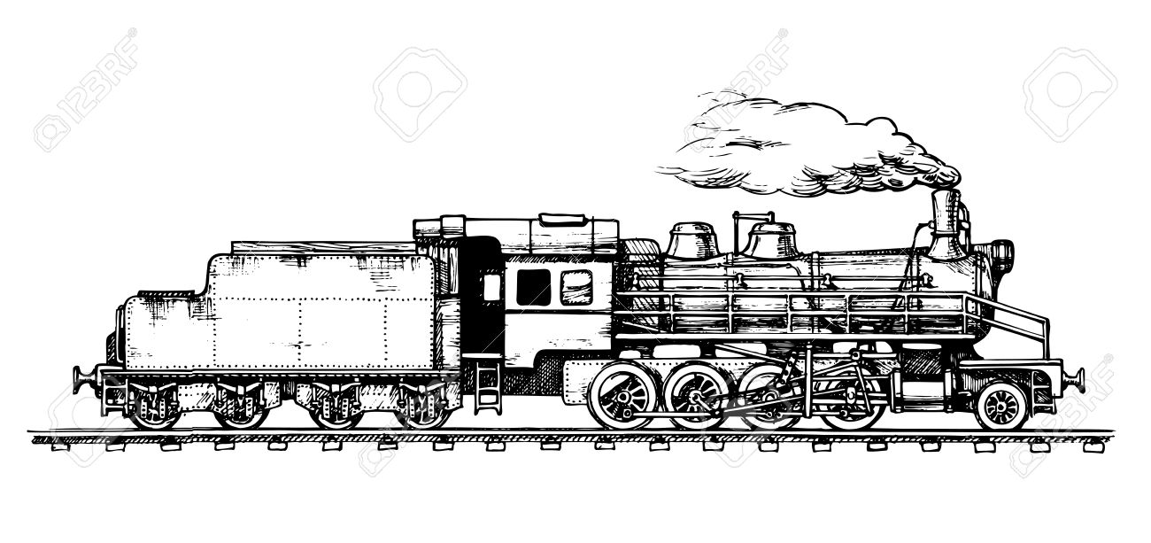 Steam Train Front View Drawing