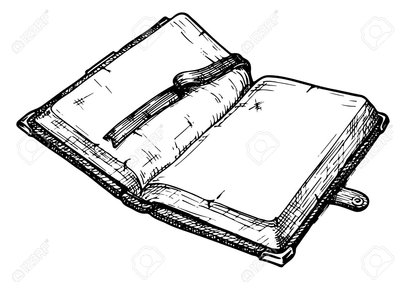 Hand Drawn Vector Illustration Of Opened Old Book Stock