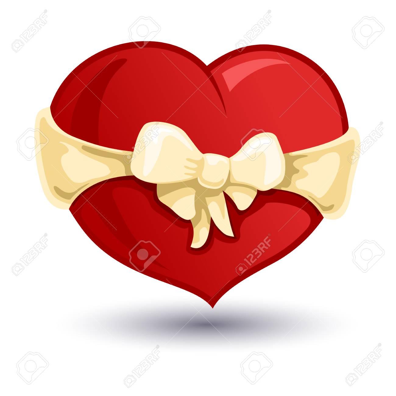 vecteur de couleur illustration de coeur saint-valentin avec un arc