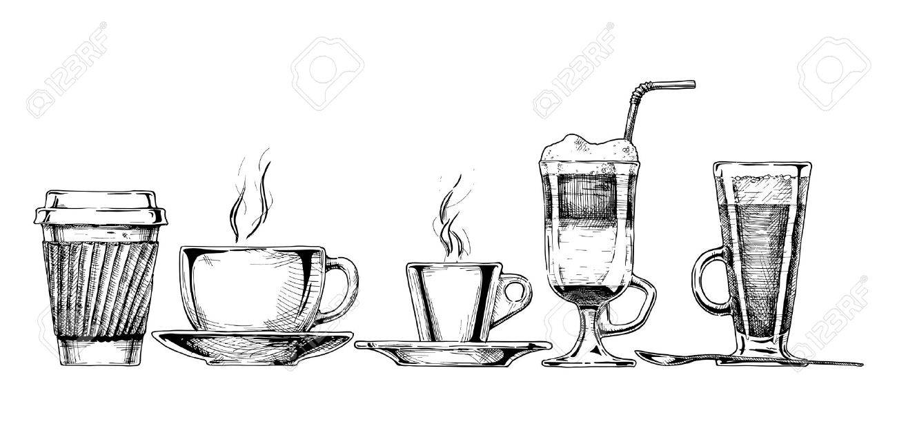 Vector set of coffee cups in ink hand drawn style. isolated on white. - 43827619
