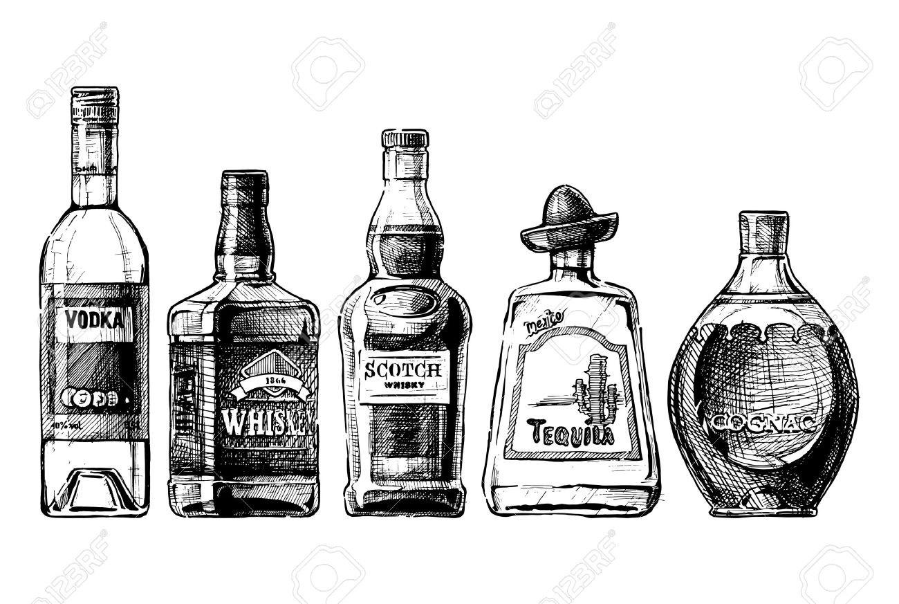 Vector set of bottles of alcohol in ink hand drawn style. isolated on white. Distilled beverage - 50017768