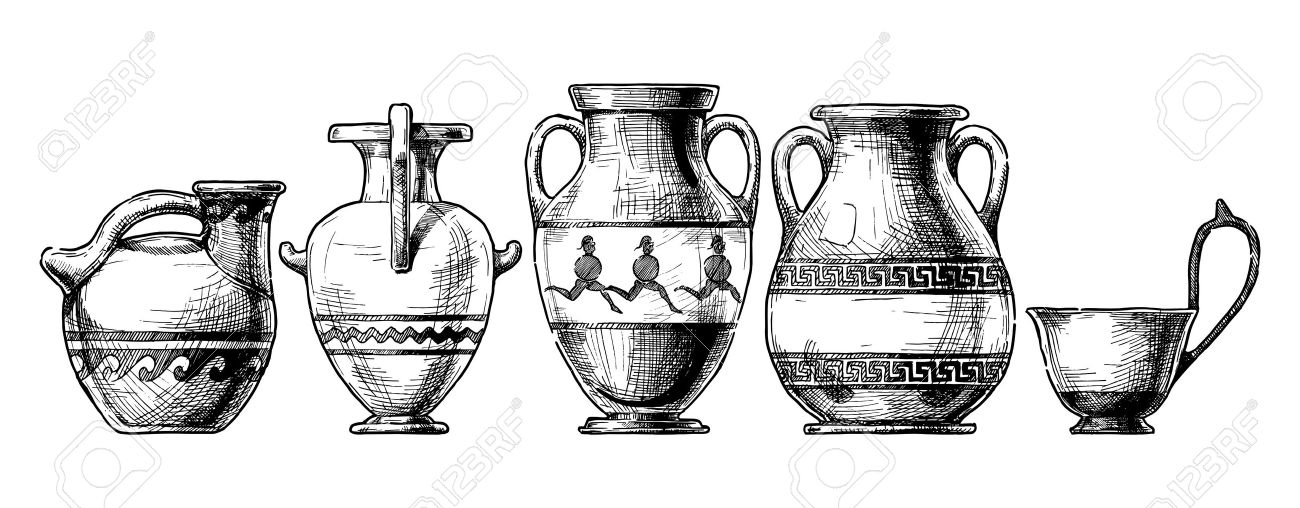 Vector Hand Drawn Sketch Of Ancient Greek Vases Set In Ink Hand