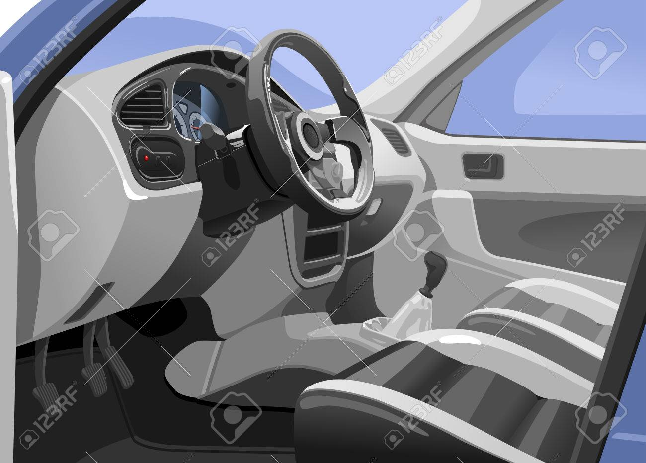Vector illustration of a sport car interior. View from the opened door. Simple gradients only - no gradient mesh. - 54061483