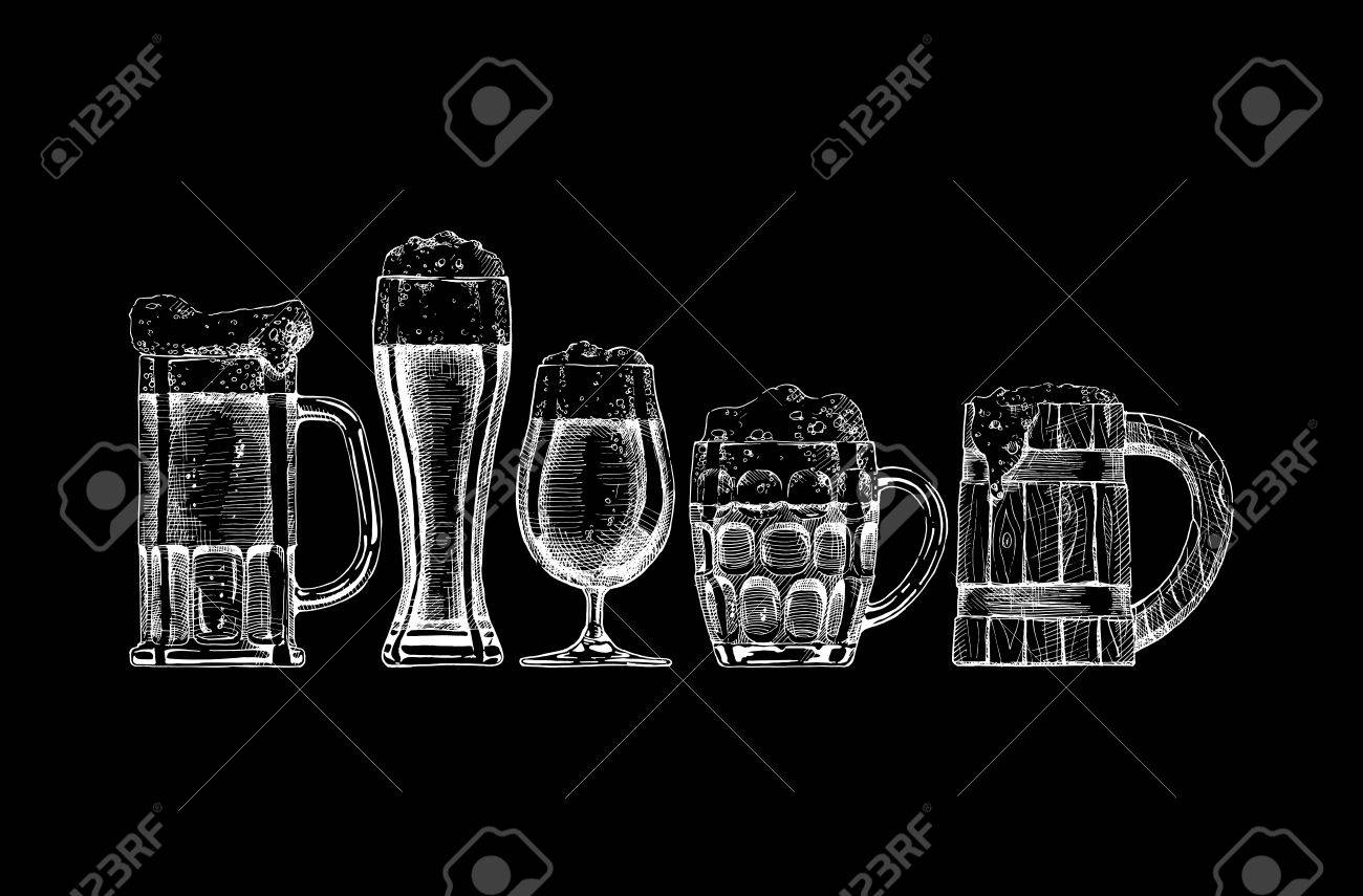 set of beer glasses and mugs on black background. - 53887432