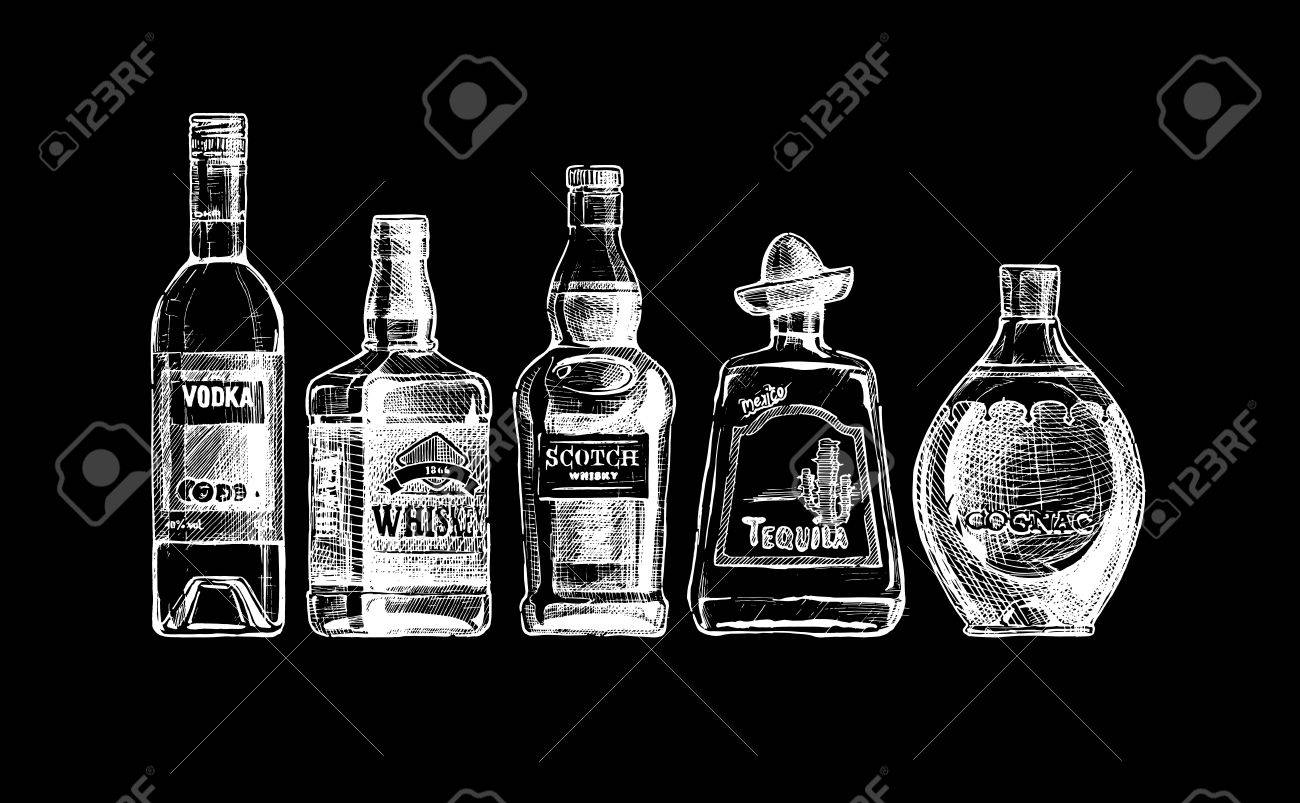 set of bottles of alcohol in ink style. isolated on black. Distilled beverage - 53887442