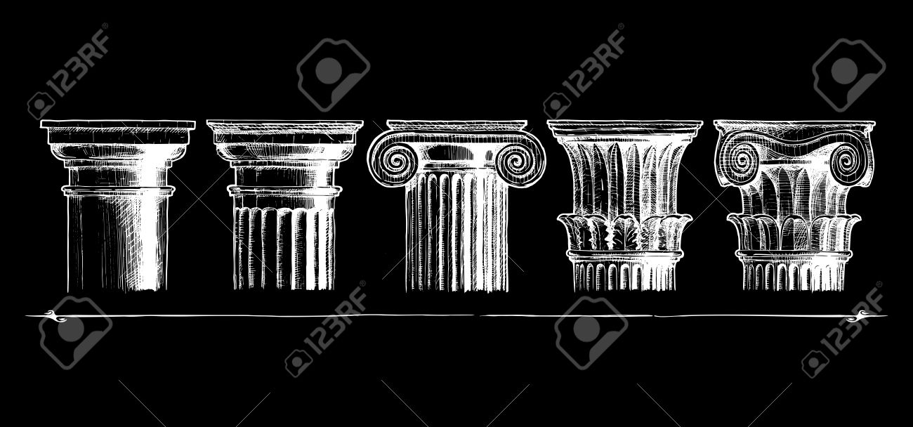 Illustration Set Of The Five Architectural Orders Engraved Showing Tuscan Doric Ionic
