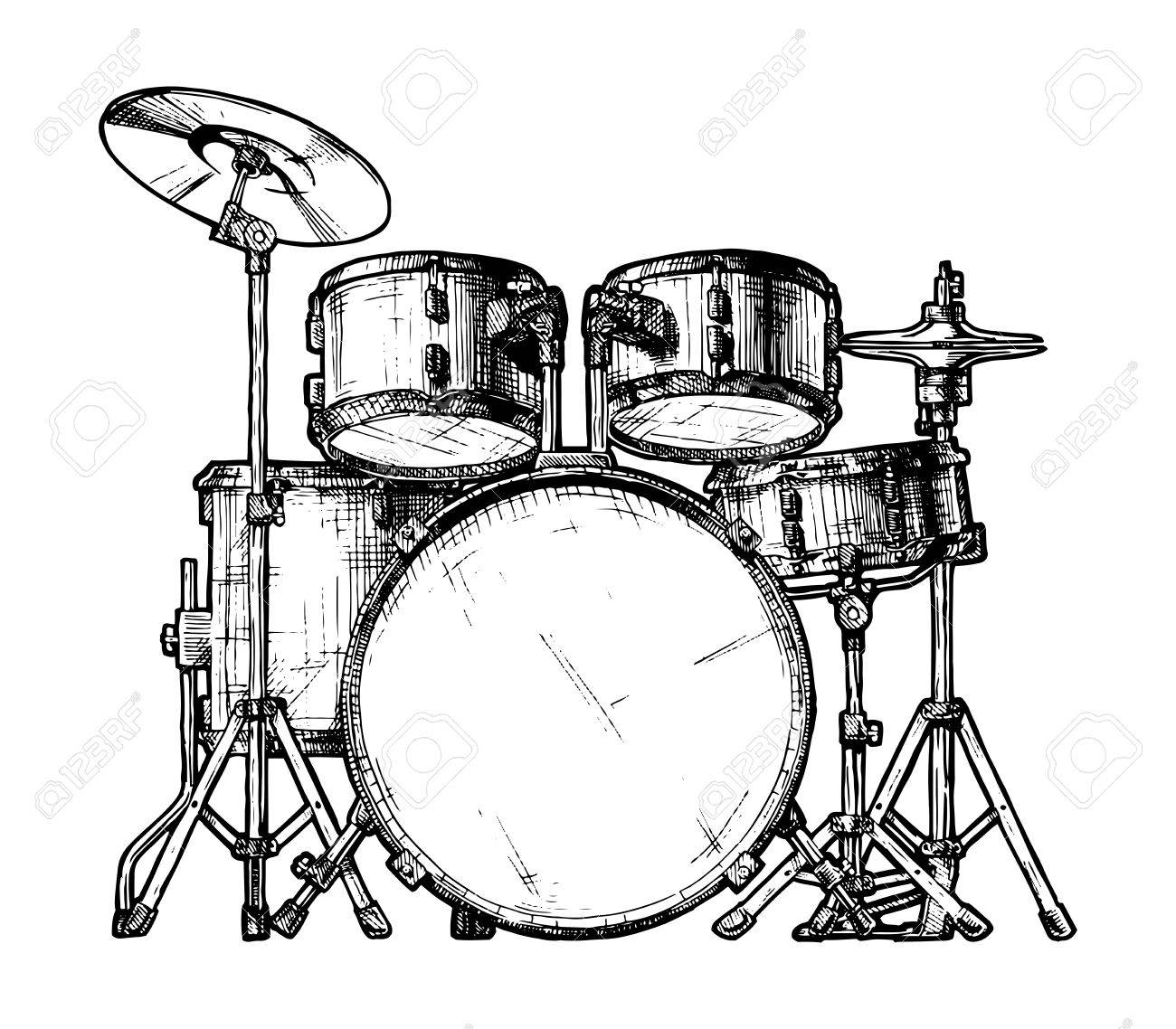 Hand Drawn Illustration Of Drum Kit Isolated On White Stock Vector