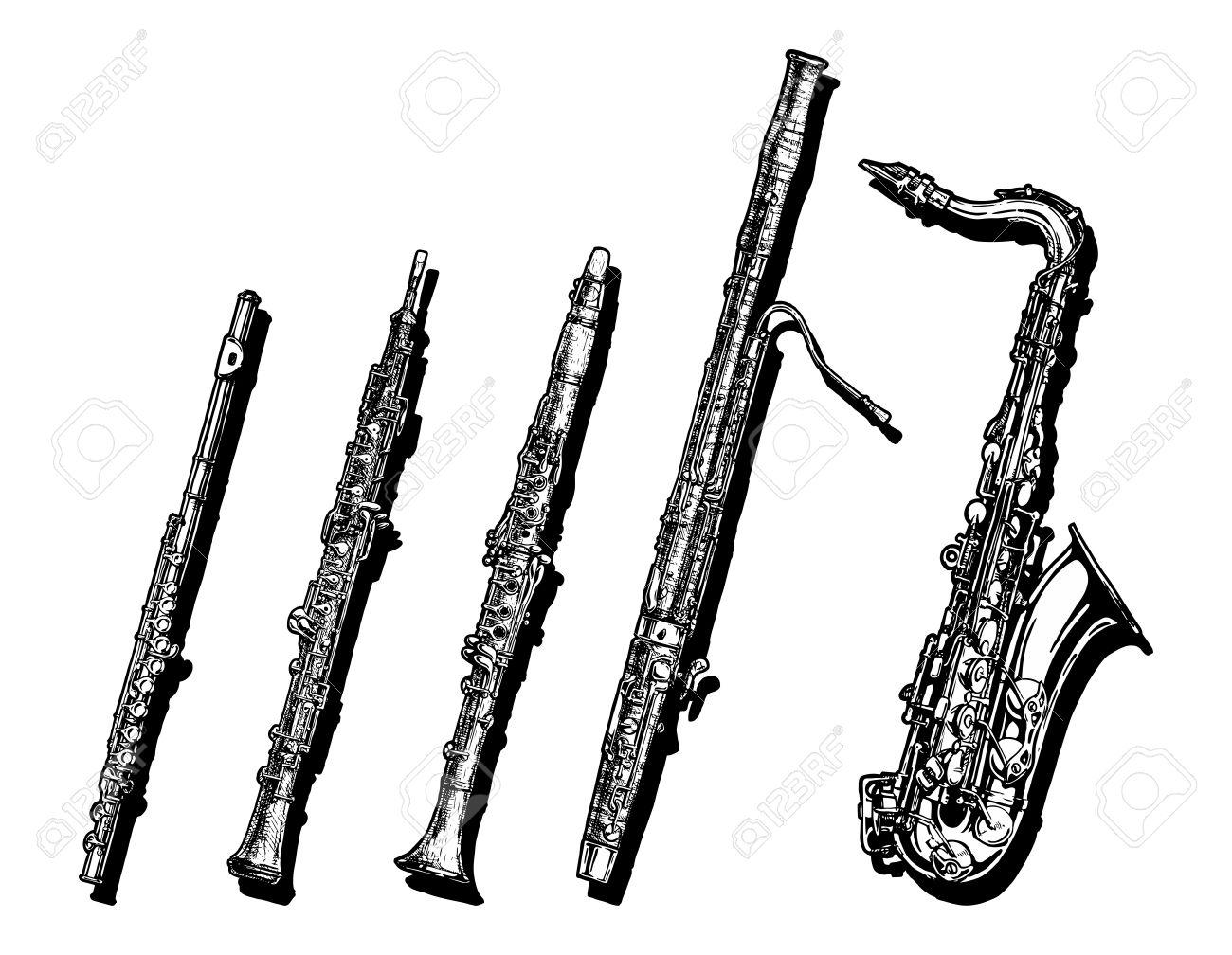 楽器木管楽器の設定描画の手しま...