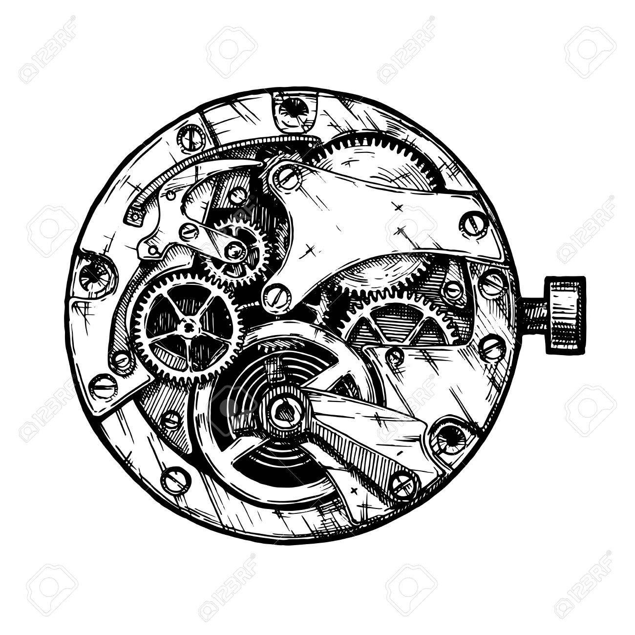 weiss auf weiss, gezeichnete illustration der vektortinte hand des uhrwerks. schwarz, Innenarchitektur