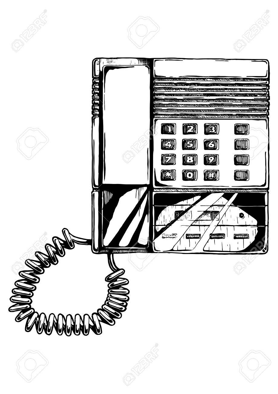 Vector hand drawn illustration of push-button phone with answering