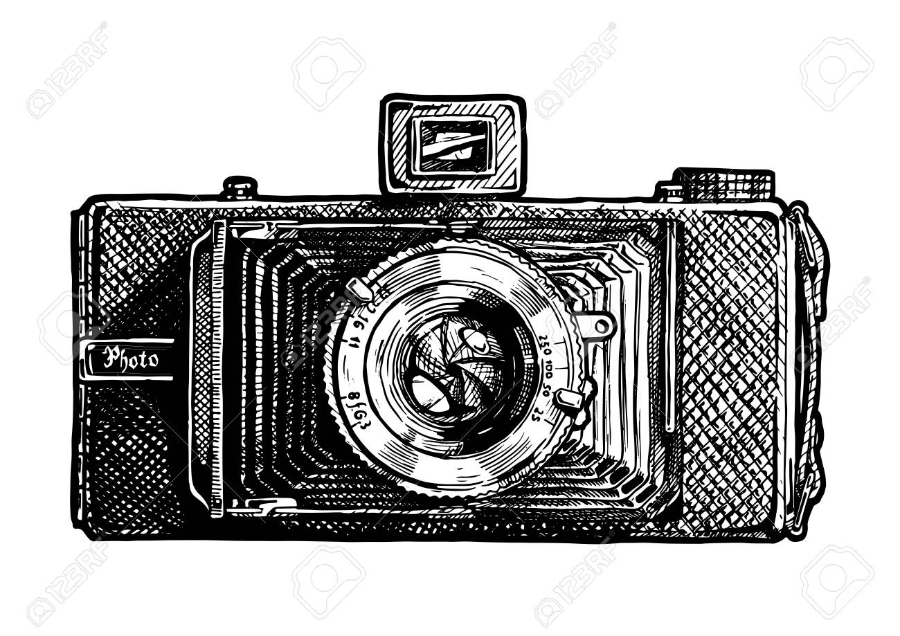 Camera Vintage Vector Free : Vector hand drawn sketch of folding camera in vintage engraved