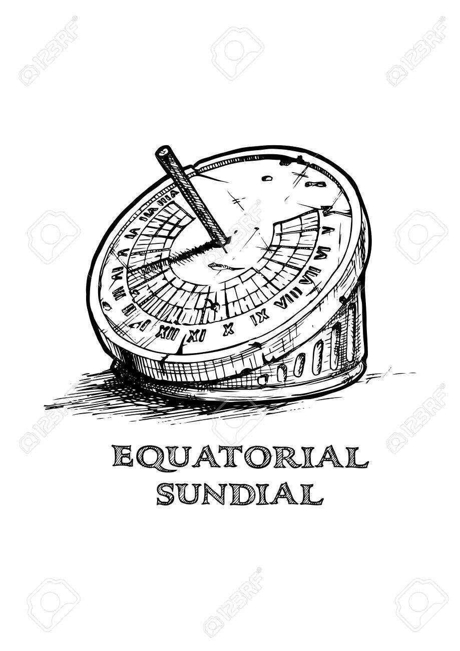 Vector Hand Drawn Illustration Of Equatorial Sundial In Vintage