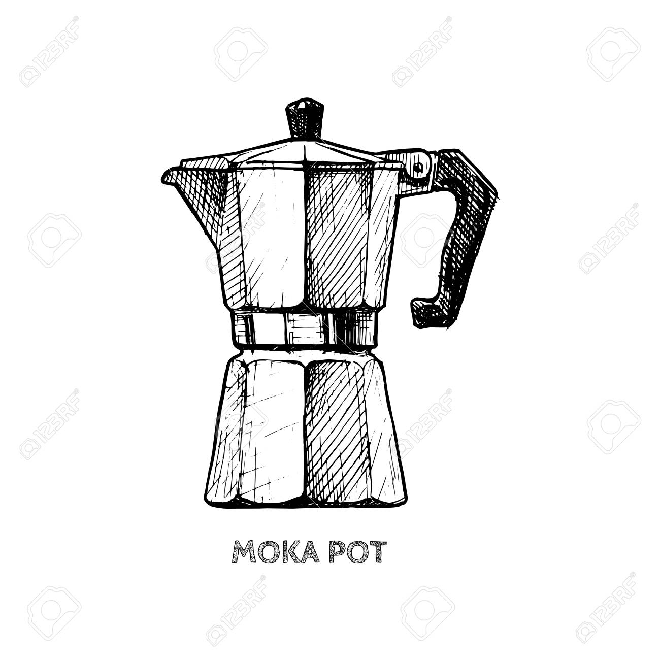 Vector Hand Drawn Illustration Of Moka Pot In Vintage Engraved