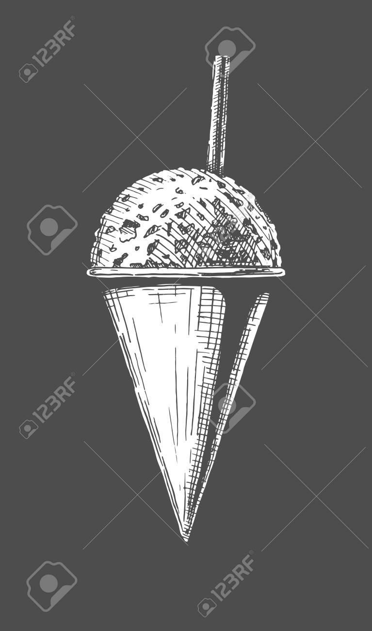 Vector hand drawn illustration of Snow Cones in vintage engraved style. Isolated on black background. - 133341301