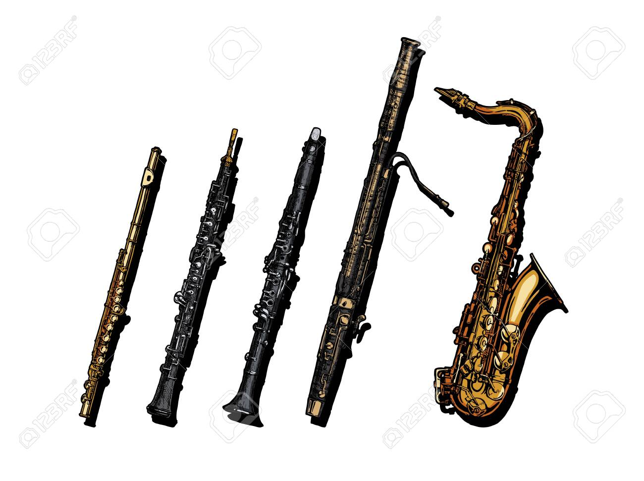 Vector hand drawn set of woodwind musical instruments. Flute, oboe, clarinet, bassoon and saxophone. - 133875538