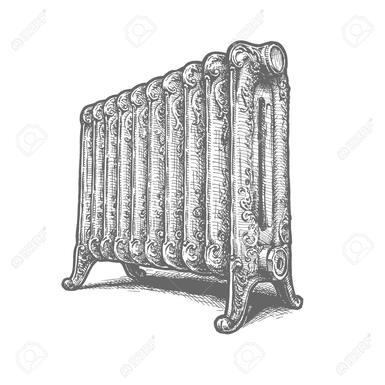 Vector Hand Drawn Illustration Of Old Cast Iron Radiators In Royalty Free Cliparts Vectors And Stock Illustration Image 138115672