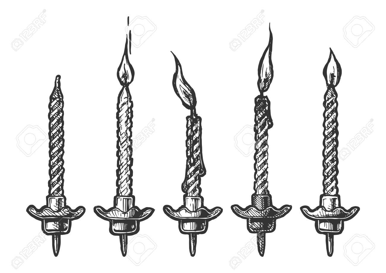 Vector hand drawn illustration of birthdays candles with and without fire in vintage engraved style. Isolated on white background. - 143929722