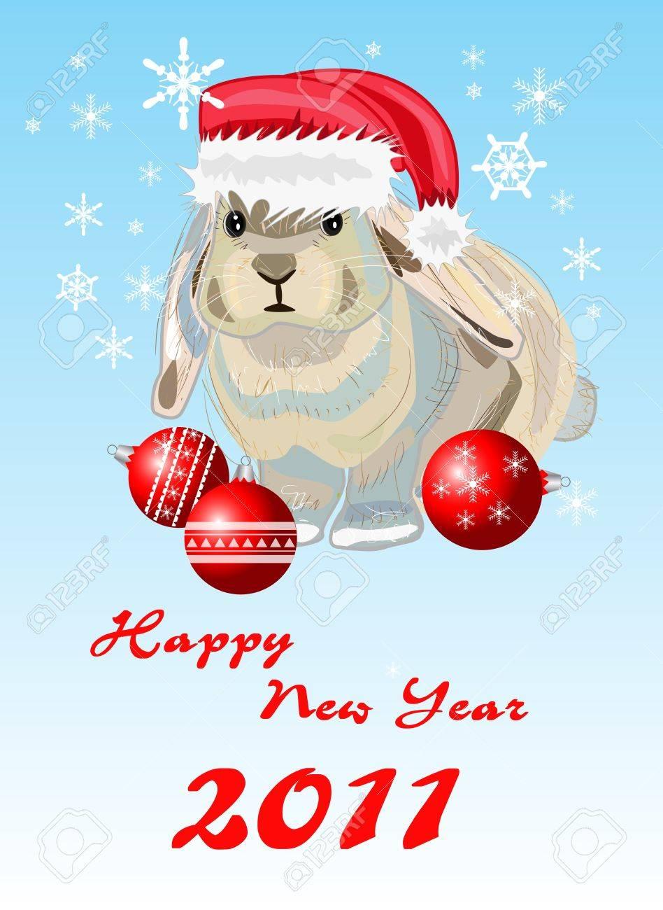 Rabbit. new year card Stock Vector - 8397538