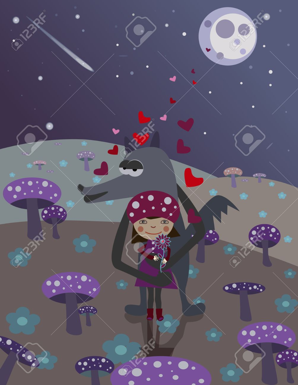 Little Red Riding Hood and wolf. Love. Night scene with mushrooms Stock Vector - 8559448
