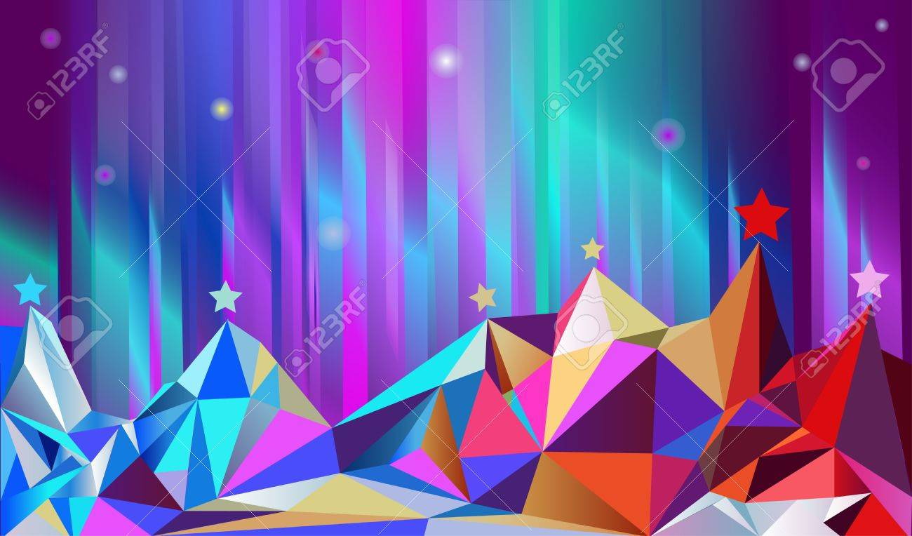 Color mountains and north shining. Vector illustration Stock Vector - 8591029