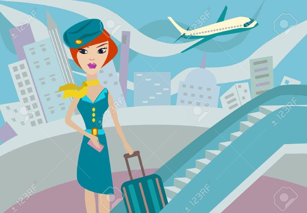 flight attendant. Vector illustration Stock Vector - 8591054