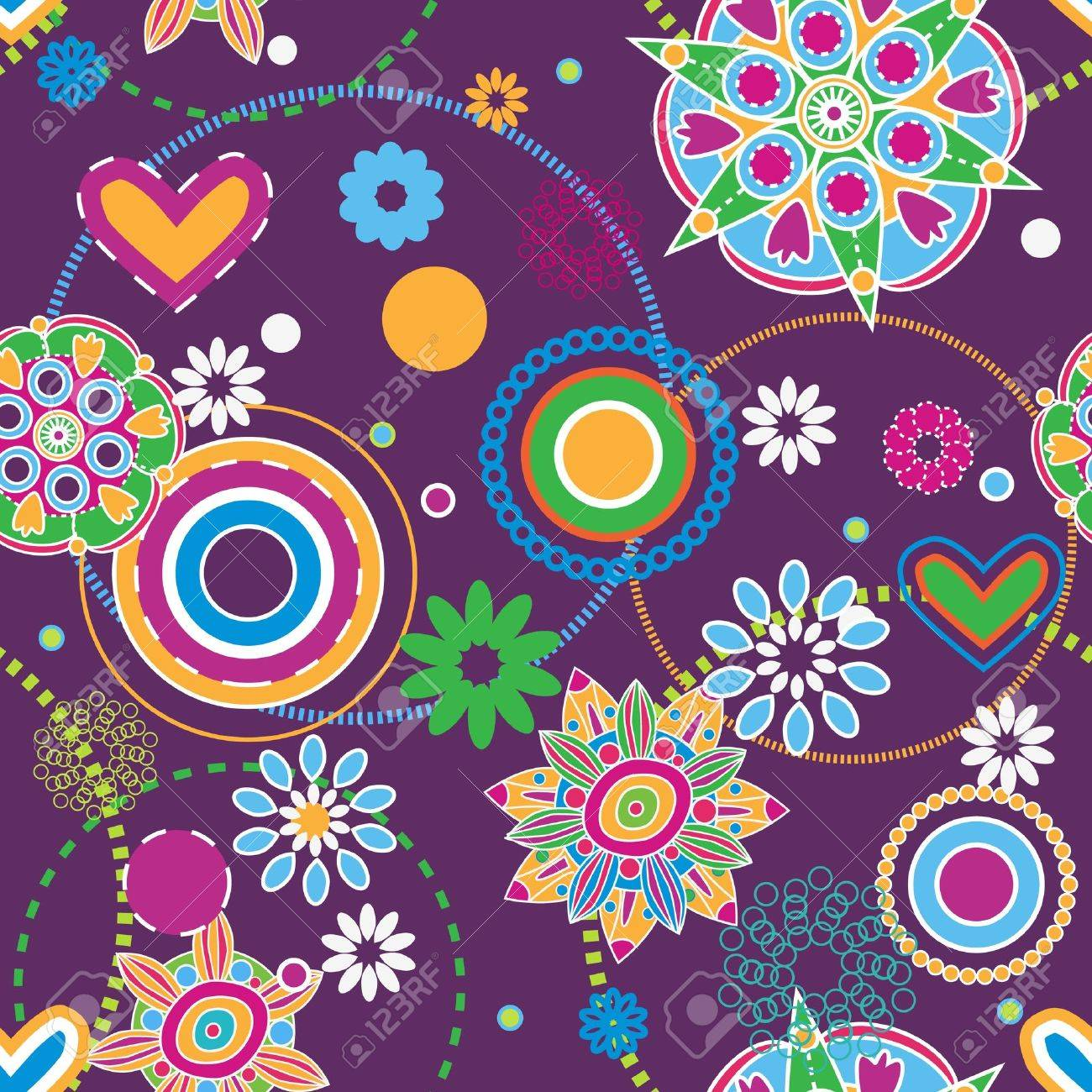 Flowers abstract seamless texture, Hippie trend Stock Vector - 8631972