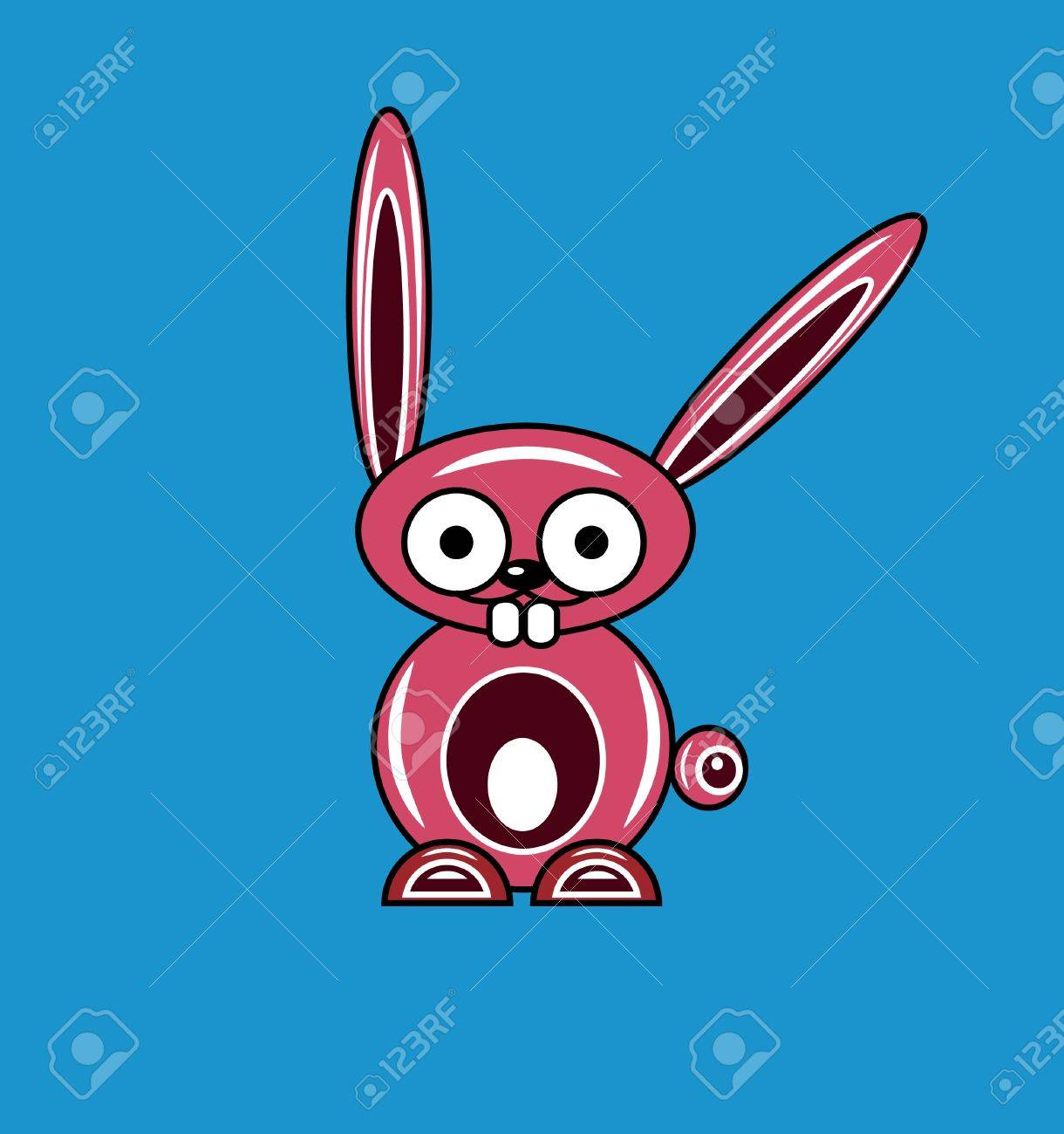 Pink cartoon rabbit on a blue background Stock Vector - 8631591