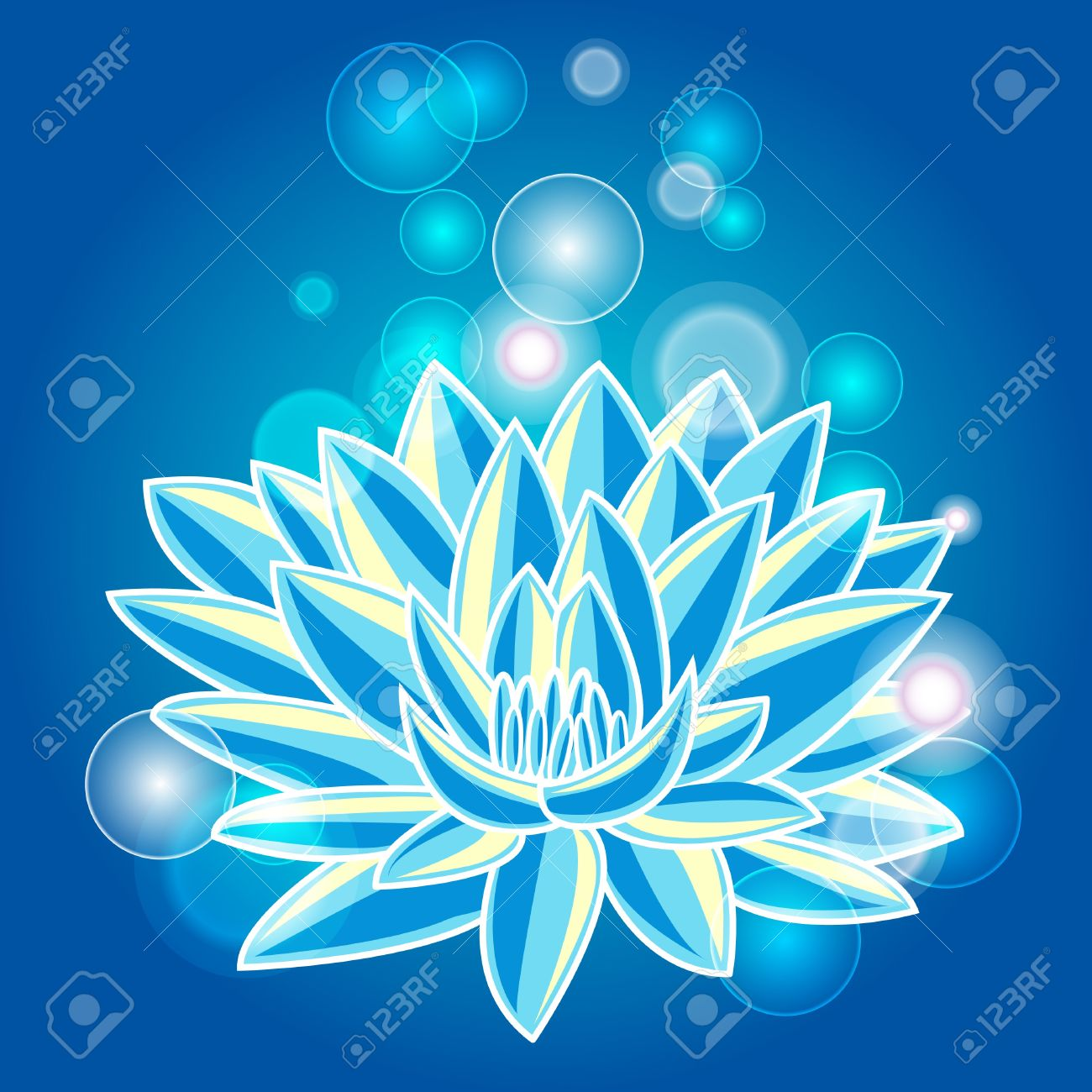 Abstract illustration with blue lotus Stock Vector - 9535440