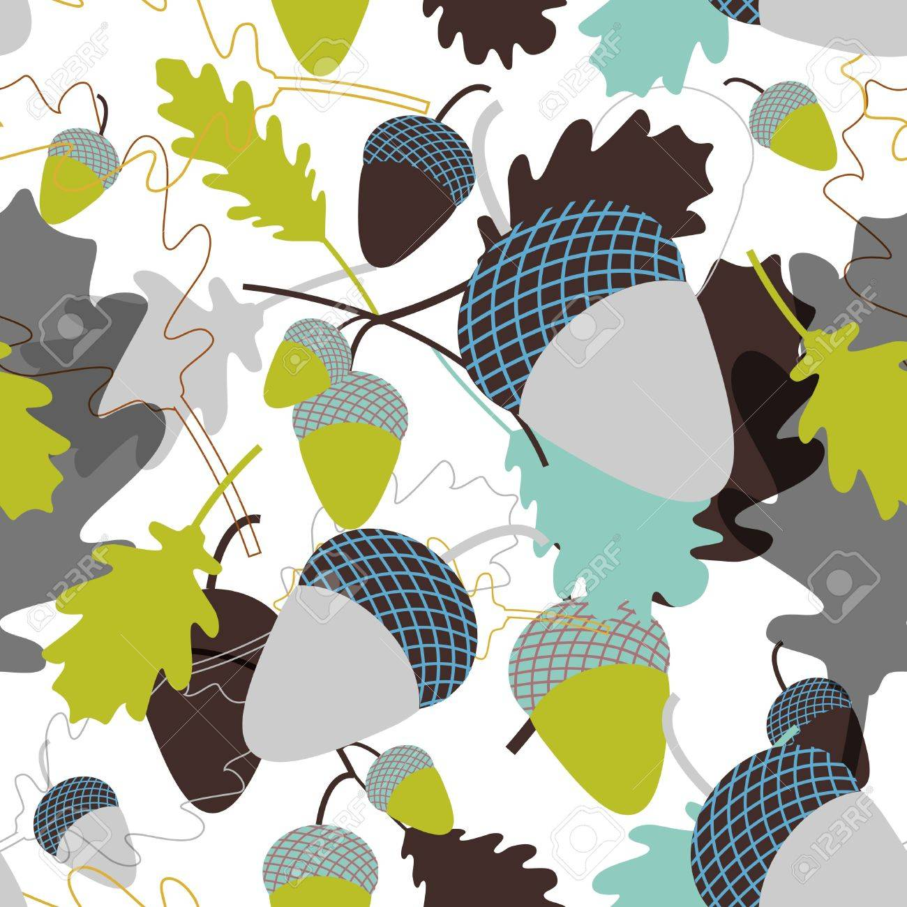 seamless background with oak leafs and acorn Stock Vector - 9535435